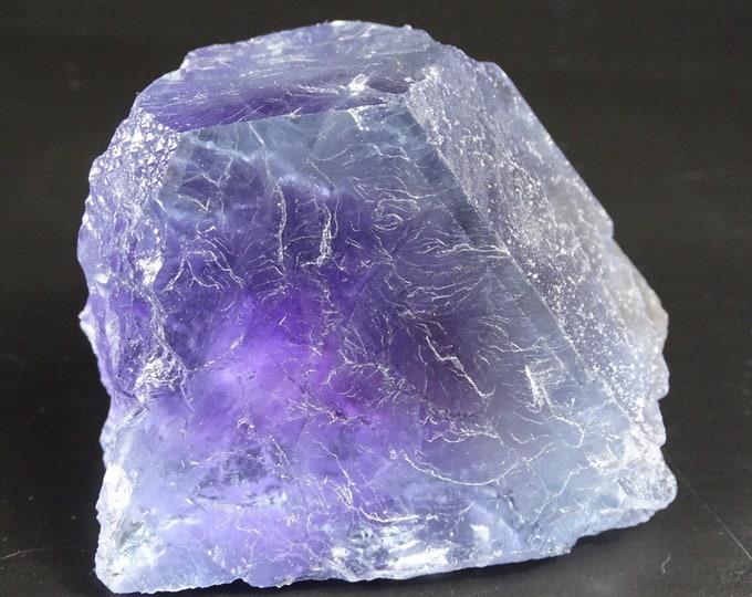 Beautiful Blue Partial Fluorite Cube with Purple Phantom