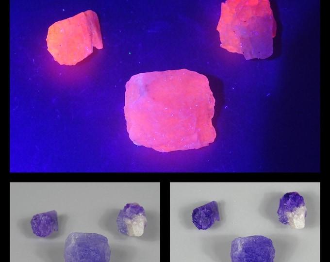 Lot of 3 Fluorescent, Phosphorescent & Slightly Tenebrescent  Hackmanite Crystals