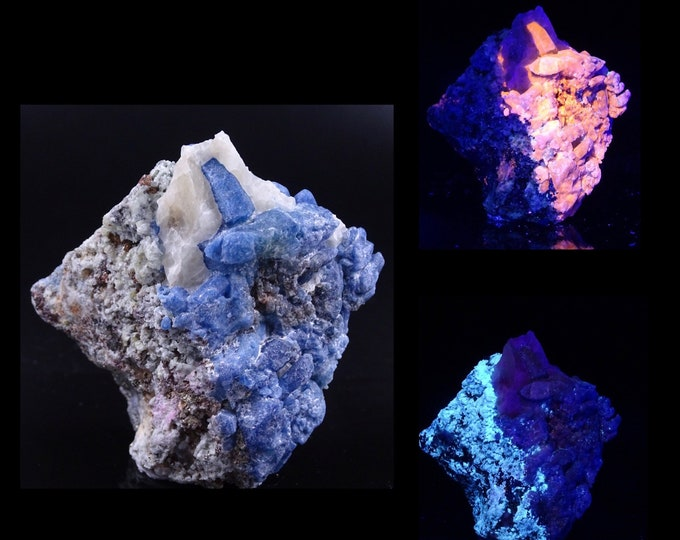 UV Reactive Afghanite and Pyrite on Matrix