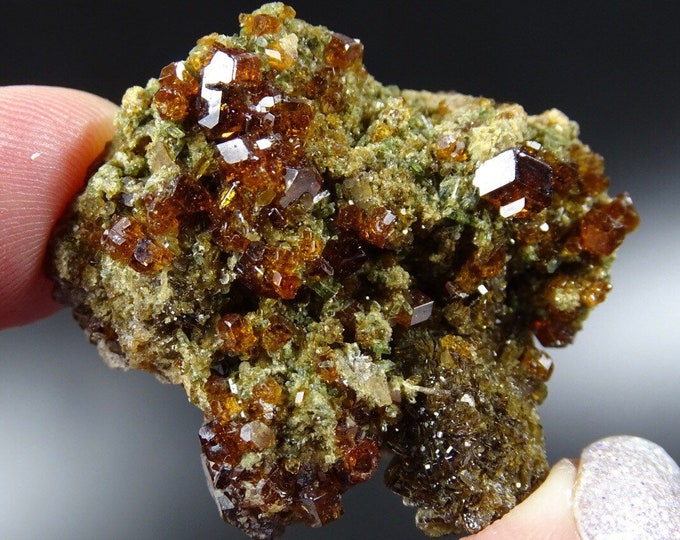 Orange/Brown Garnets with Diopside on Matrix