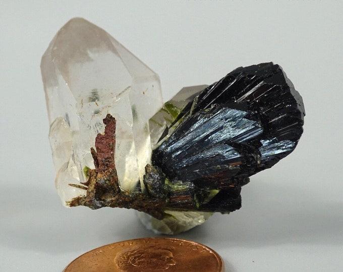 Quartz Crystal with Dark Green Epidote Fan - Thumbnail Specimen