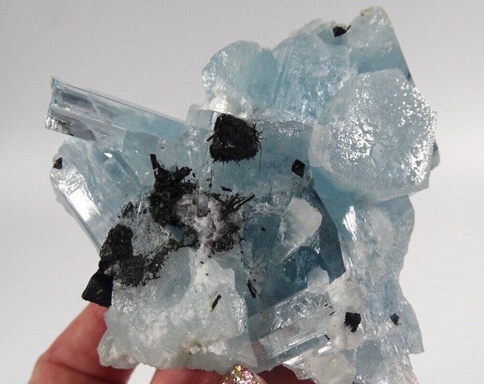 Aquamarine Crystal Cluster with Black Tourmaline