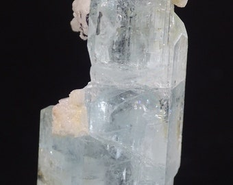 Aquamarine Crystal with Snow White Albite