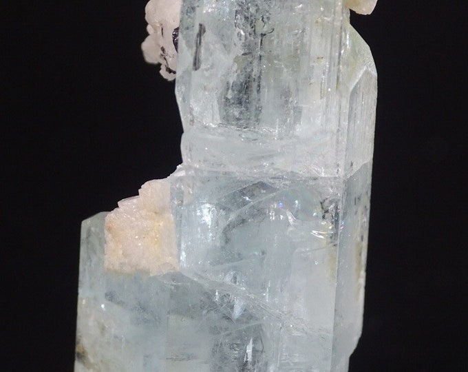 Aquamarine Crystal with Snow White Albite