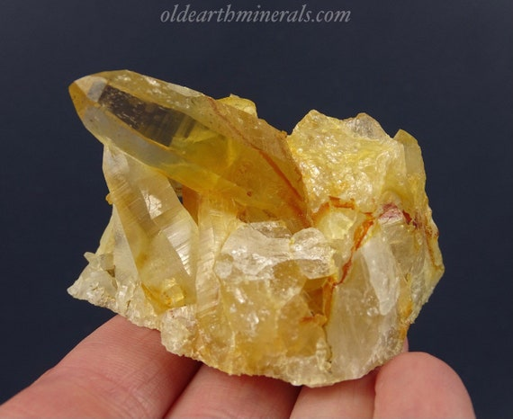 Clear Quartz Crystal Cluster with Natural Yellow Iron Oxide Coating