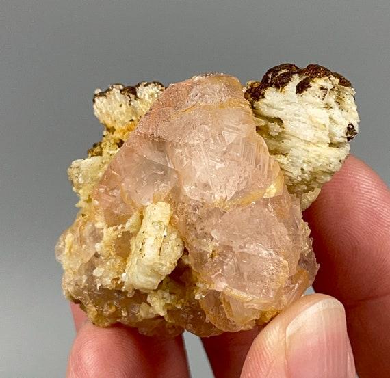 Pink Fluorite Crystal with Feldspar