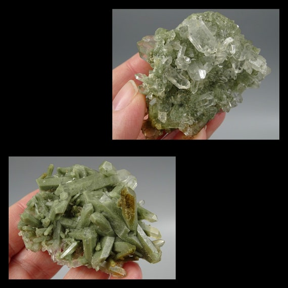 Two Sided Reversible Cluster- Chlorite Included Quartz and Clear Quartz