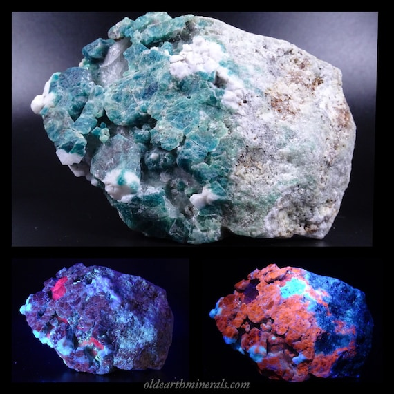 1 + Lb UV Reactive Blue Green Sodalite with Pyrite, on Marble Matrix