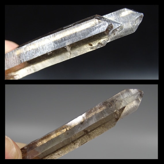 Clear Smoky Quartz Crystal with 2 Terminations at one End
