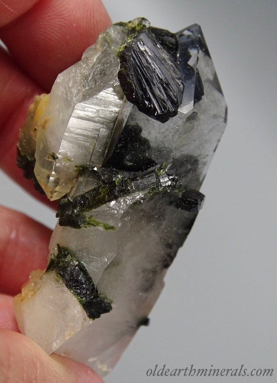 Quartz Crystals with Dark Green Epidote Crystal Fans