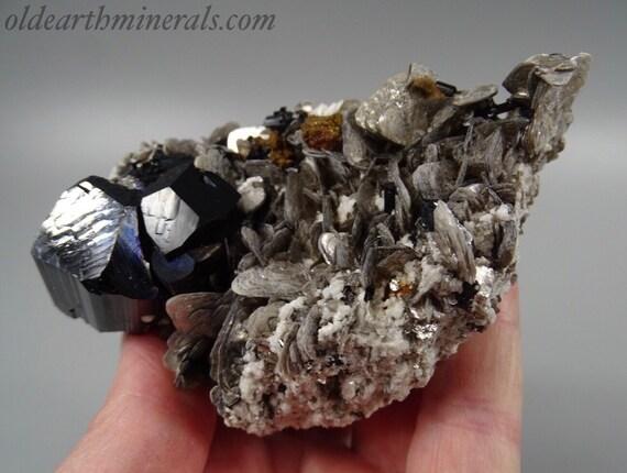 Black Schorl Tourmaline and Muscovite Mica in Albite Matrix