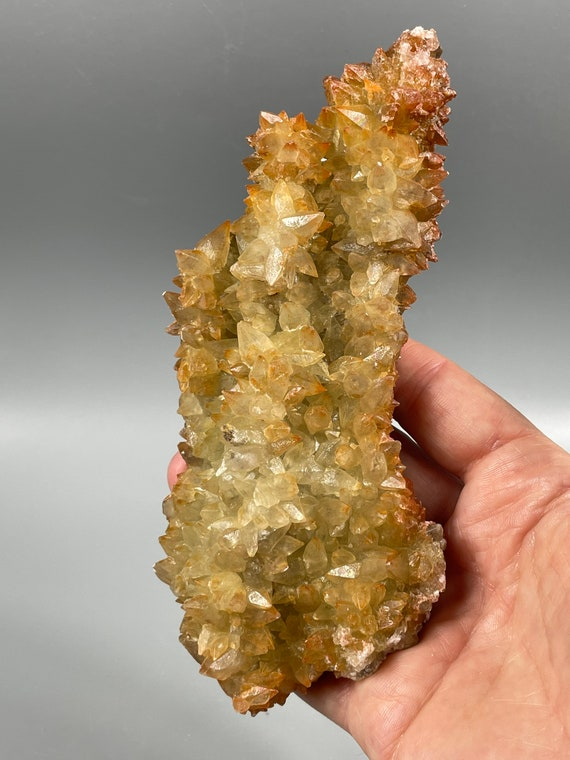 Dog Tooth Calcite Cluster with Natural Iridescent & Iron Oxide Surface Coating