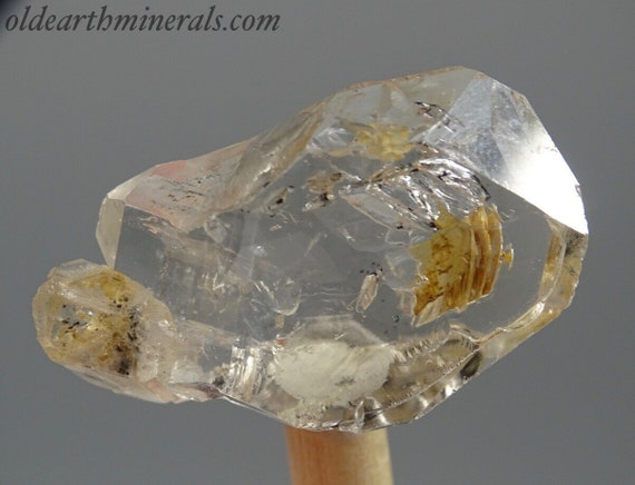 Clear Skeletal Elestial Quartz Crystal with Clay Inclusions