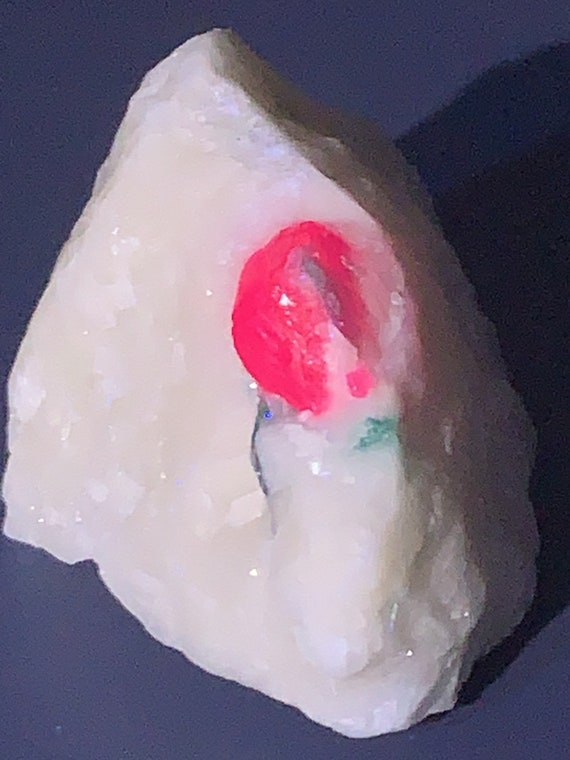 Natural Ruby Crystal with a Trace of Gorgeous Green Mineral on Marble Matrix