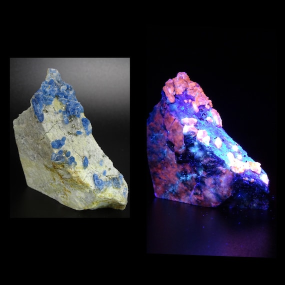UV Reactive Afghanite and Pyrite on Marble Matrix