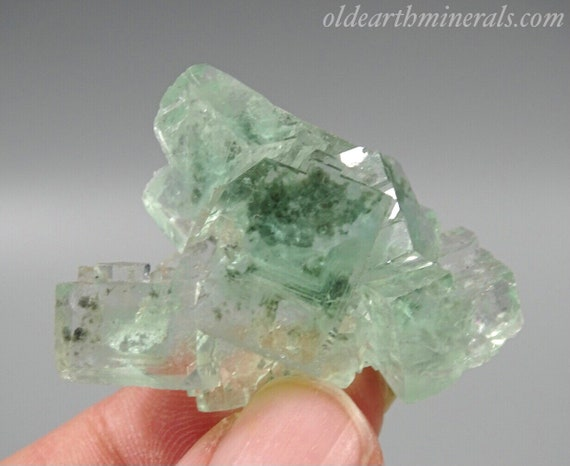 Light Clear Green Cubic Fluorite Cluster with Chlorite Inclusions