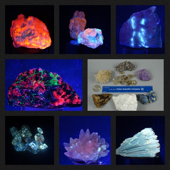 Fluorescent Minerals Set of 7 - Fluorescence, Phosphorescence & Tenebrescence (with or without UV Light)
