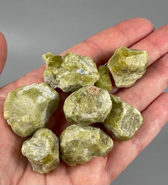 Green Vesuvianite (Idocrase) Crystals - Lot of 9 Pieces