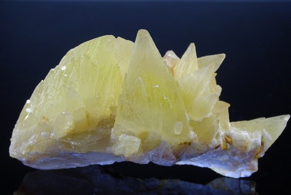 Yellow Dog Tooth Calcite Cluster