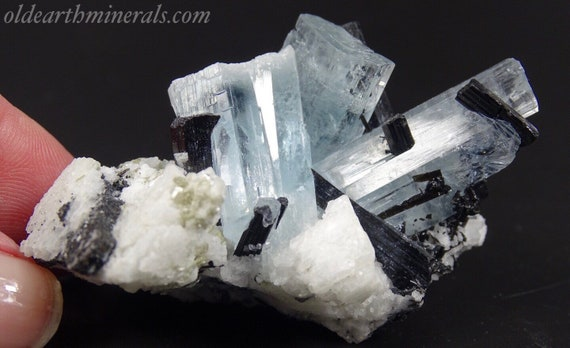 Aquamarine Crystals with Black Tourmaline & Albite