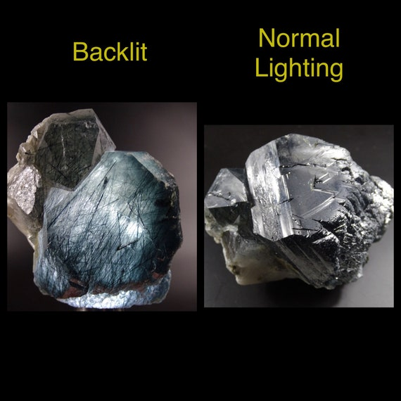 Clear Quartz Crystal with Black Rutile