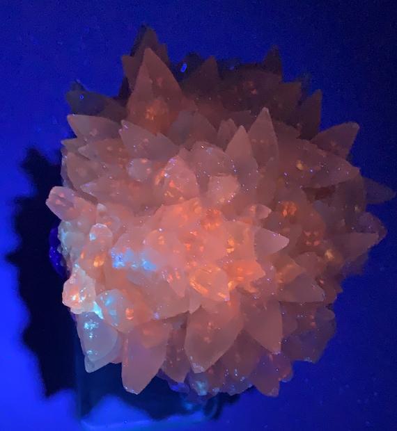Dog Tooth Calcite Cluster on Purple Fluorite Matrix - UV Reactive - Fluorescent 365 nm Long Wave