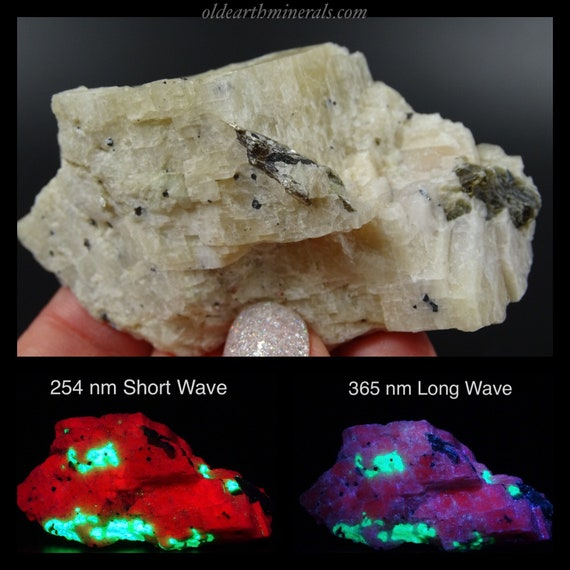 UV Reactive New Jersey Willemite, Calcite and Chlorite Specimen - Phosphorescent with Short Wave UV