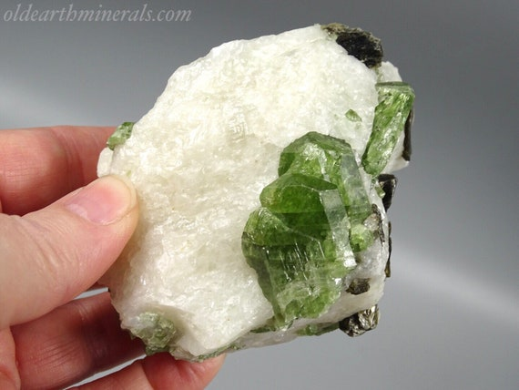 Chrome Diopside Crystals with Phlogopite Mica in White Calcite Matrix