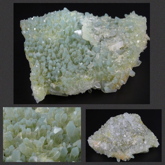 Green and Clear Quartz Crystals on Matrix - 2 Looks in One Piece