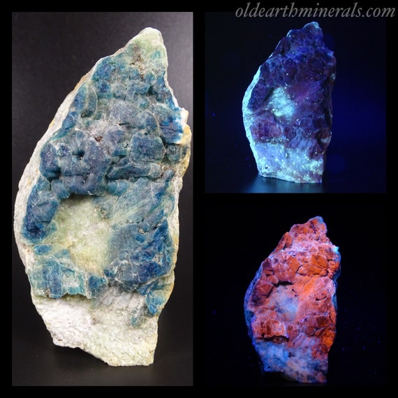 Beautiful UV Reactive Blue Green Sodalite on Marble Matrix