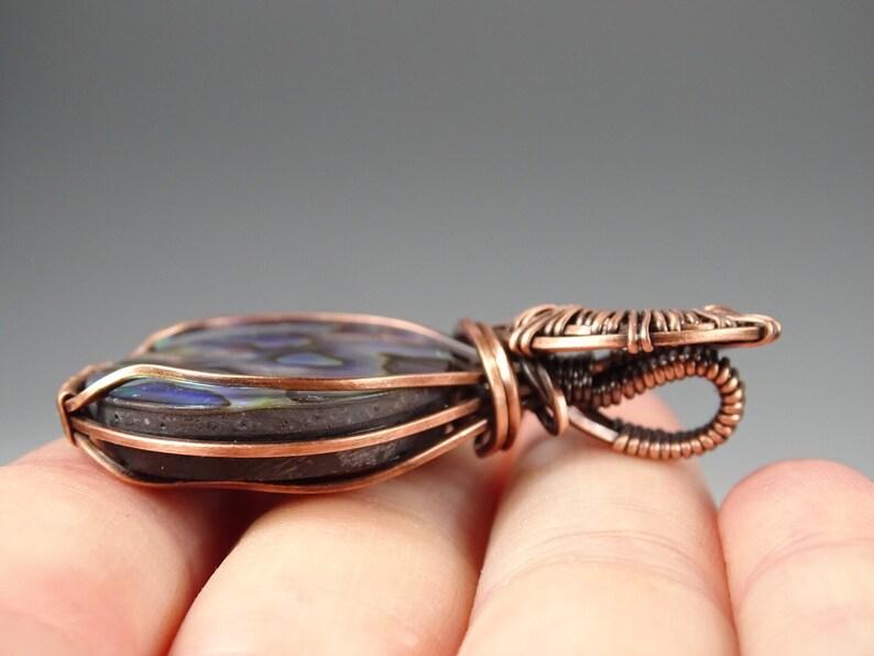 Oxidized Copper Wire Abalone Shell Cabochon Wire Wrap Pendant