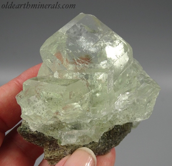 Crystal Clear, Light Green Fluorite Cube Cluster  - UV Reactive