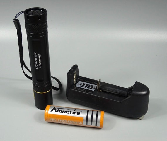 Alonefire SV003 10W Handheld 365 nm Long Wave UV Lamp with Premium Battery & Battery Charger