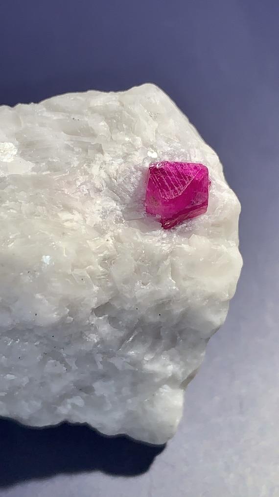 UV Reactive Natural Ruby Crystal on Marble Matrix