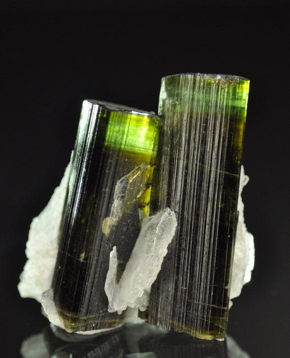 Bi-color Twin Tourmaline Crystals with Delicate Clevelandite (Backlit)
