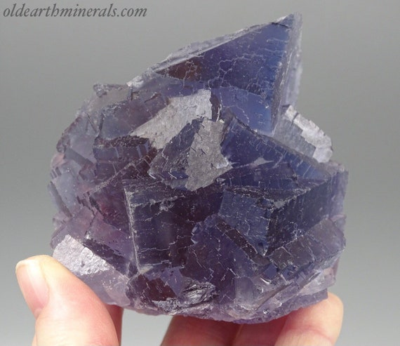15 Ounce Beautiful Blue/Gray and Purple Fluorite Cube Cluster