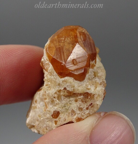 Small Orange Garnet On Matrix - Thumbnail Specimen