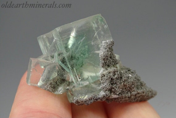 Crystal Clear, Light Green Chlorite Included Fluorite Cubic Cluster with Pagoda Calcite