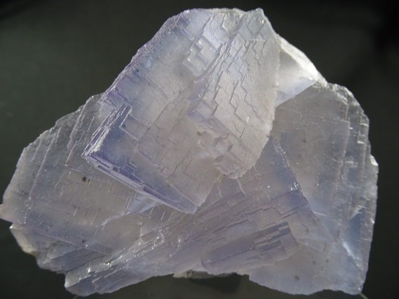 Beautiful Light Blue and Purple Stepped Fluorite Cube Cluster