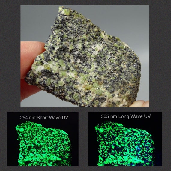 Gneissic Ore with Mint Green Willemite & Franklinite Crystals - UV Reactive