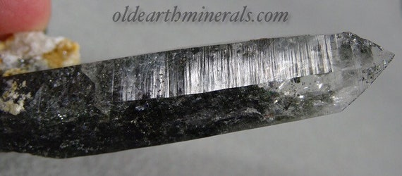 Chlorite Included Clear Quartz Crystal with Beautiful Striations