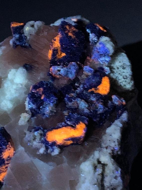 Afghanite, Lazurite, Lapis and Pyrite on Calcite Marble Matrix - UV Reactive