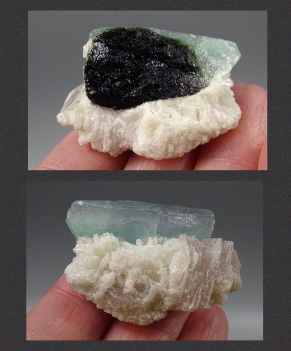Zoned Naturally Formed Partial Tourmaline Crystal with Clevelandite & Pink Mica