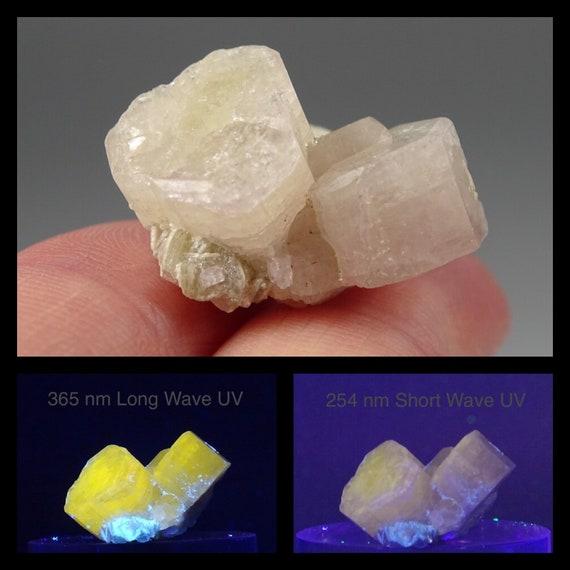Light Pink UV Reactive Apatite Crystal Cluster - Thumbnail Specimen