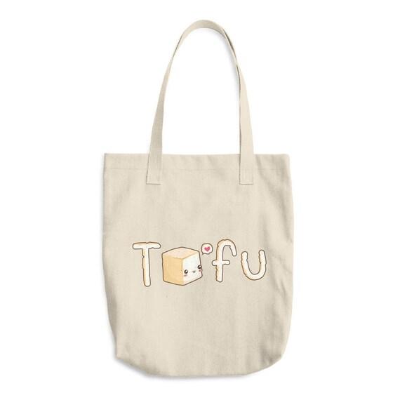 Cute Tofu Vegan Canvas Tote Bag Vegetarian