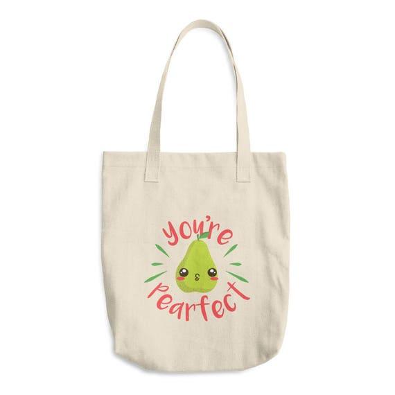 Cute Pear Vegan Tote Bag Vegetarian Fruit