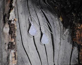 Snow Druzy Drop Earrings