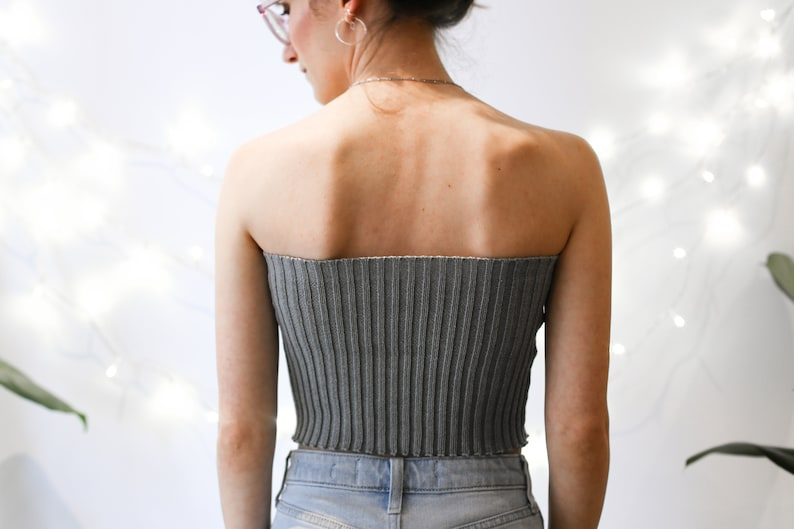 Buttons Ribbed Tube Top Handmade Summer Cosy Bandeau in 14 Colours Vegan and Durable Festival Beach Top Fits Like a Glove Cropped