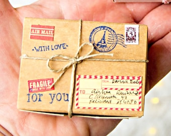 gift packaging Tiny Packages Thoughtful Gifts Packaging for bottle's message Personalised gift Valentine World's Smallest Package Miniature