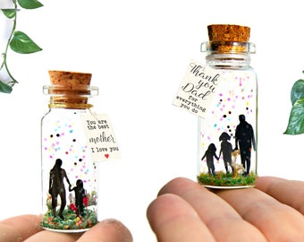 Gift for Dad Mom, Message in a bottle, Personalized Gift from Daughter Son, Meaningful Cute Card, Fathers Mothers Day Gift, Family gift Love